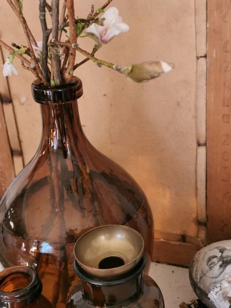 Kronelys/telys holder med spyd burned brass 15 cm