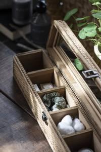 Bilde av Smykkeskrin avlang med 6 rom, glasslokk
