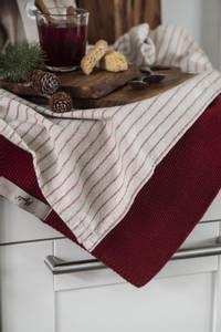 Bilde av Kjøkkenhåndkle natur med smale burgunder striper